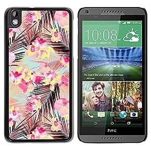 Paccase / SLIM PC / Aliminium Casa Carcasa Funda Case Cover para - Pink Palm Leaves Pattern Teal Flowers - HTC DESIRE 816