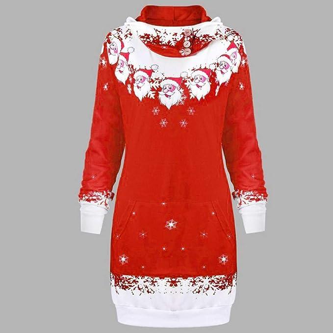 Amazon.com: 2018 Latest Hot Style! Teresamoon Womens Christmas Santa Claus Snowflake Print Pocket Caps Tops Sweatshirts: Clothing