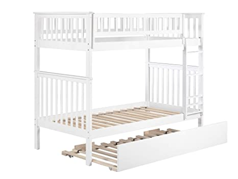 Woodland Bunk Bed with Urban Trundle, White, Twin Over Twin