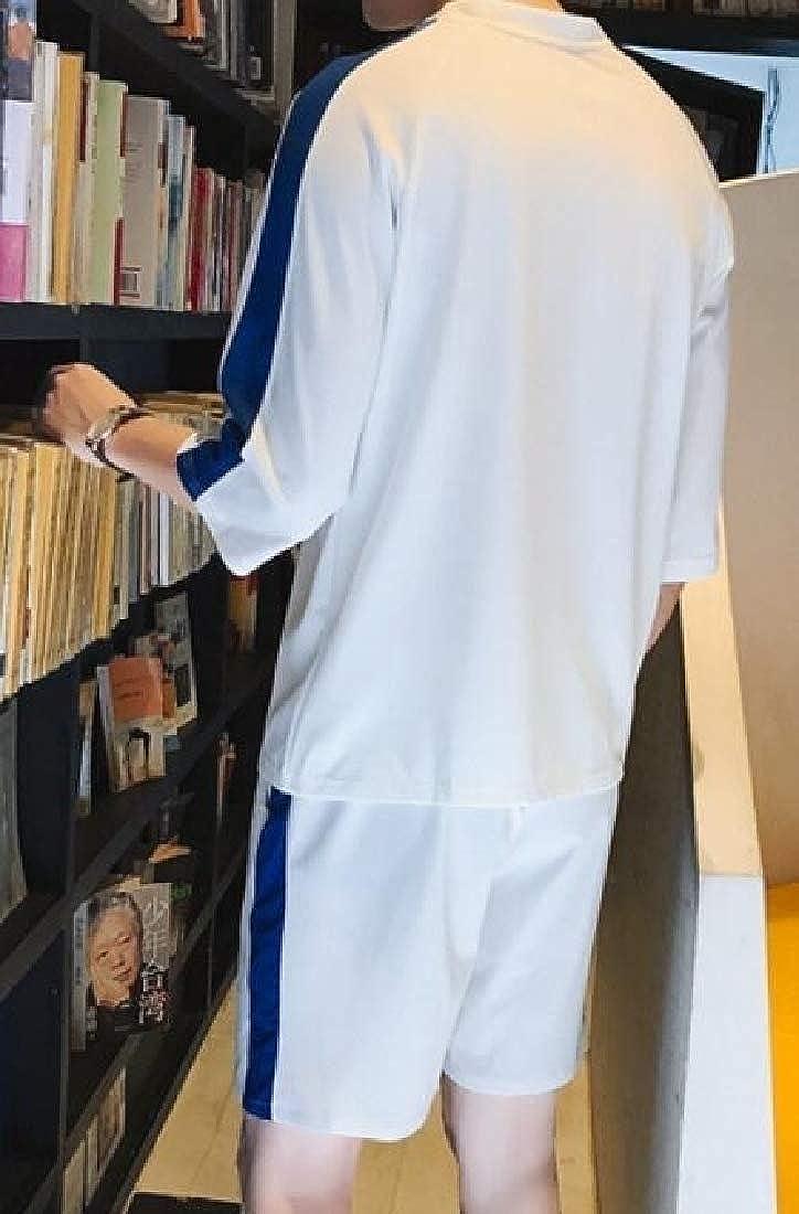GAGA Mens 2-Piece Sets Athletic Color Stitching T-Shirt Shorts Running Tracksuits