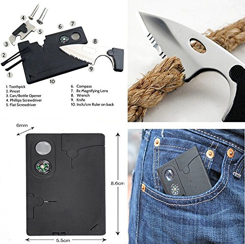 Credit-Card-Tool-Survival-Kit-with-14-in-1-Credit-Card-Multitool10-in-1-Multitool-Card-Folding-Card-Knife-Upgrade-and-Sturdy-Pocket-SawFor-Fishing-Camping-Hiking-Hunting-Emergency-Kit