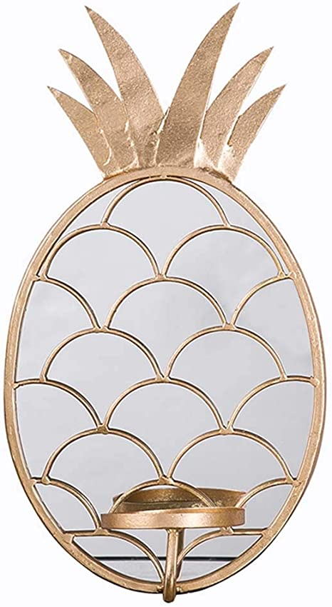 Amazon Com Cqing Modern Pineapple Shape Metal Wall Mirror With Candelabrum Dish Art Decor Lattice Work Wall Hanging Mirror Gold Finish 18 5inch In Height Home Kitchen
