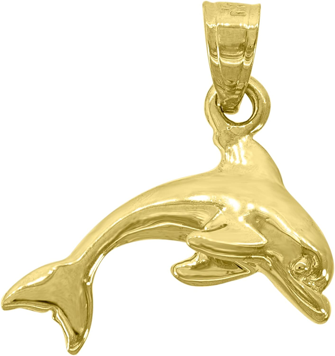 15mm x 18mm 14k Yellow Gold Dolphins Pendant