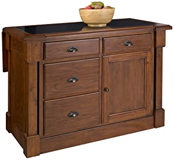 Home Styles 5520 945 Aspen Kitchen Island With Drop Leaf And Granite Top,  Rustic