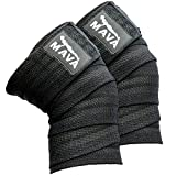 "Mava Sports Knee Wraps (Pair) for Cross Training WODs,Gym Workout,Weightlifting,Fitness & Powerlifting - Best Knee Straps for Squats - For Men & Women- 72""-Compression & Elastic Support (Black)"