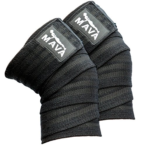 Mava Sports Knee Wraps (Pair) for Cross Training WODs,Gym Workout,Weightlifting,Fitness & Powerlifting - Best Knee Straps for Squats (Weight Lifting Knee Support)