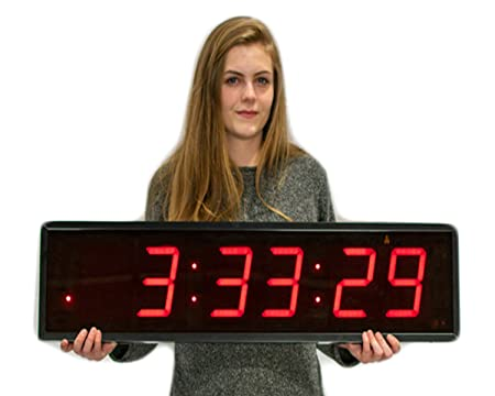 Huge Industrial Warehouse Cafeteria Gym Clock Stopwatch Countdown Timer 5 Inch Numbers Aluminum Frame with Full Function Remote Control Small