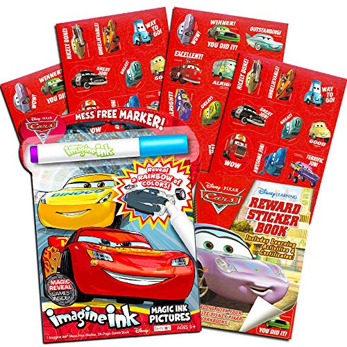 Disney Cars Imagine Ink Coloring Book Set for Toddlers Kids -- Mess-Free Coloring Book with Magic Invisible Ink Pen and Over 100 Disney Cars Stickers (No Mess Art)