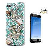 STENES iPhone 6 Plus Case - [Luxurious Series] 3D Handmade Crystal Sparkle Bling Case with Screen Protector & Retro Bowknot Anti Dust Plug - Crystal Seafish Golden Anchor Pretty Shell/Green