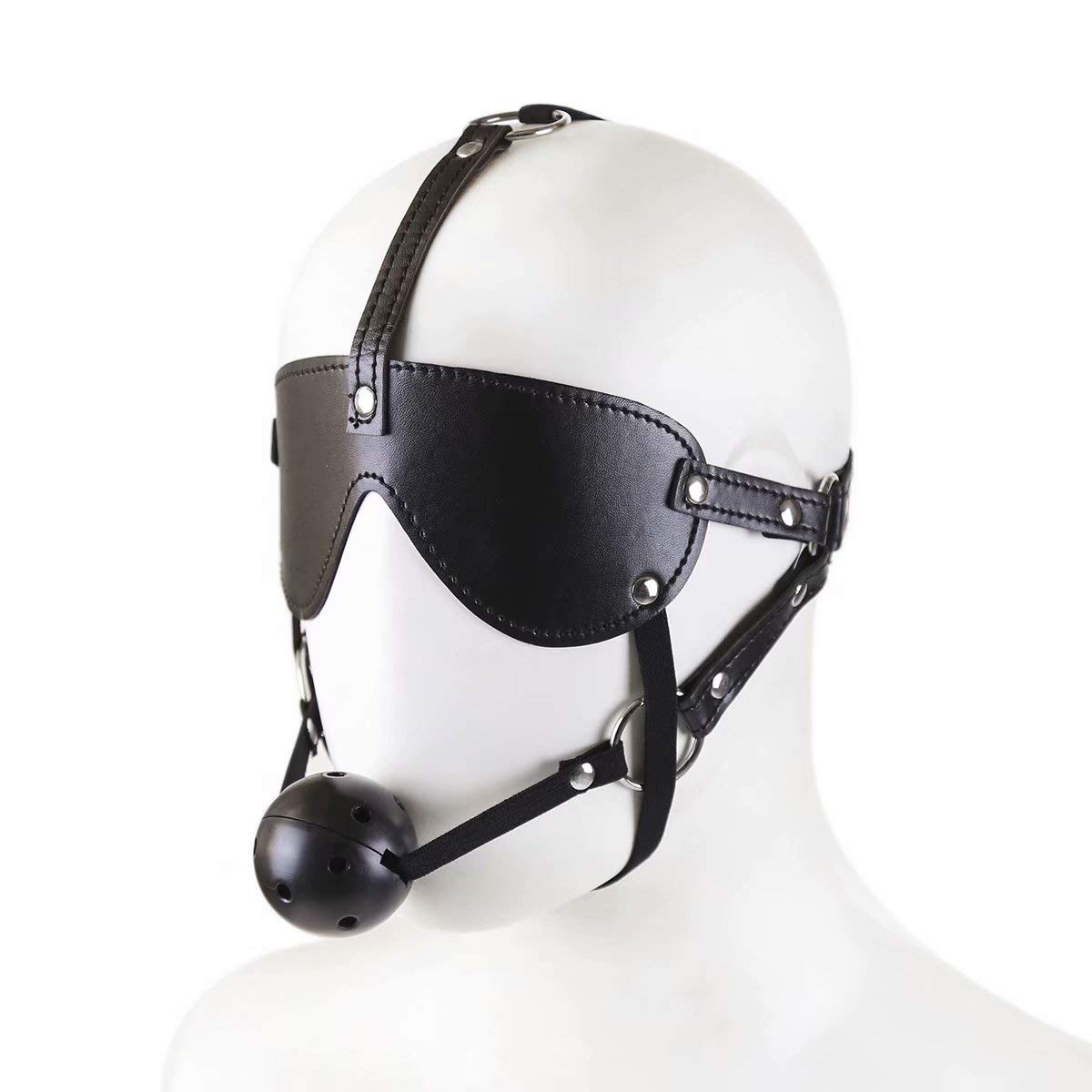 Character game eye mask mouth plug combination suit horse-shaped mouth by QF sexy leather store