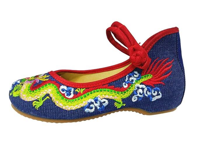 SMITHROAD Damen Ballerina Schuhe mit Stickerei Chinesischer Drache 3CM Blockabsatz Stoff Halbschuhe Sandalen mit Riemen,Schwarz Gr.41