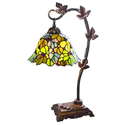 Tiffany Style Stained Glass Table Lamp: 23 Inch Victorian Style Colorful  Floral Leaf Accent Lamp