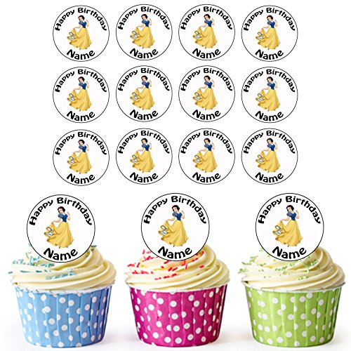 Witch From Snow White (AKGifts Snow White (Snow White And The Seven Dwarfs) Disney Princess - 24 Personalised Edible Cupcake Toppers / Birthday Cake Decorations - Easy Precut Circles (7 - 10 BUSINESS DAYS DELIVERY FROM UK))