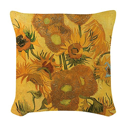 CafePress - Van Gogh Vase W Sunflowers - Woven Throw Pillow, Decorative Accent Pillow