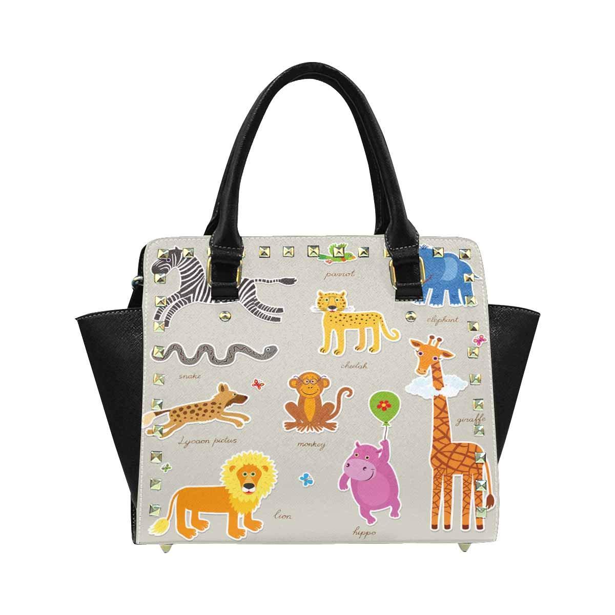 InterestPrint Womens Africa Kids Seamless Pattern Funny Cartoon Crocodile Rivet Shoulder Handbag Shoulder Bags
