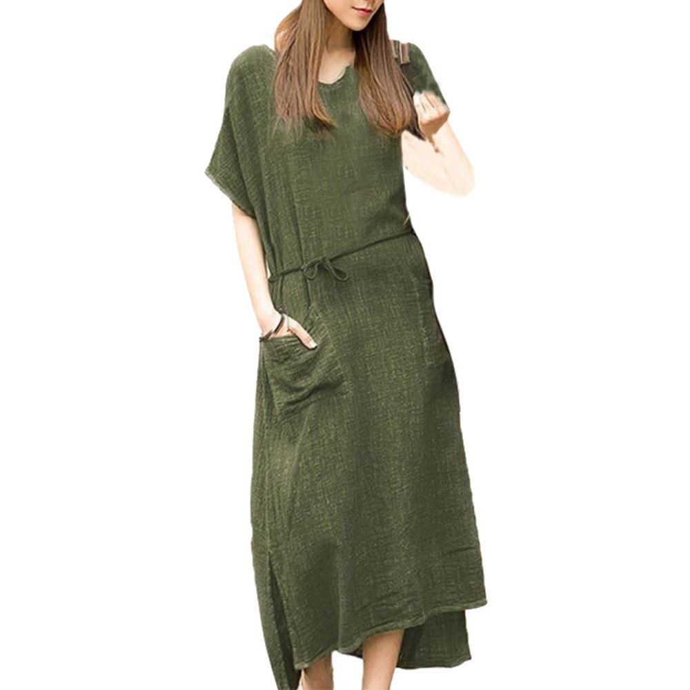 Women's Casual Summer Tank Sleeveless Knee Length Pleated Sun Dresses with Pockets Green