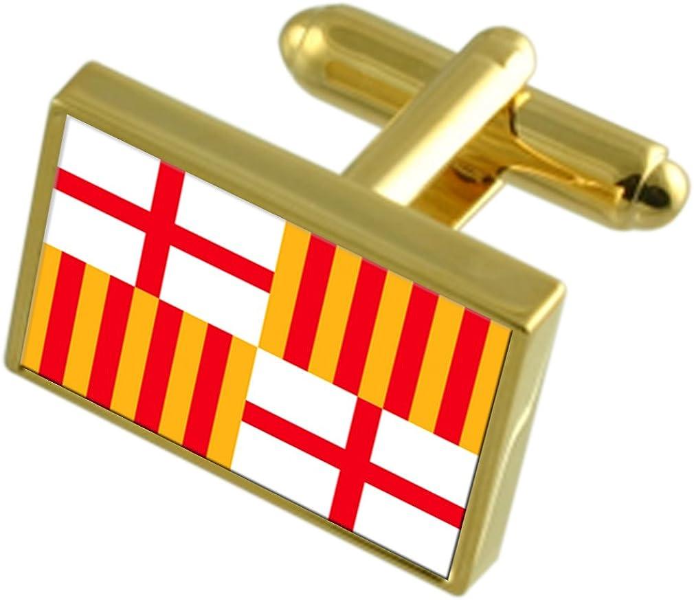 Select Gifts La Ciudad de Barcelona España Bandera de Oro Gemelos: Amazon.es: Joyería