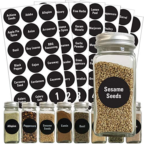 126 Chalkboard Spice Label: 96 Spice Names + 18 Blank Write-On Labels +Numbers +Pantry Food by Talented Kitchen. Black Chalk Sticker Water-Resistant Stickers for Jars Canisters Food Storage Containers