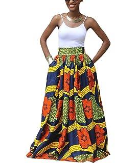 Huateng Falda Acampanada Africana de la impresión Floral Africana de Las Mujeres Ocasionales de la Falda…