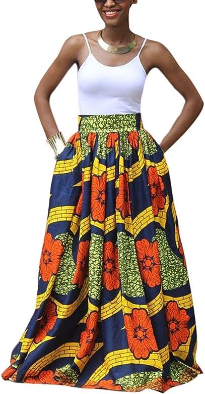 Hellomiko Falda Larga de Fiesta Larga de impresión Africana ...