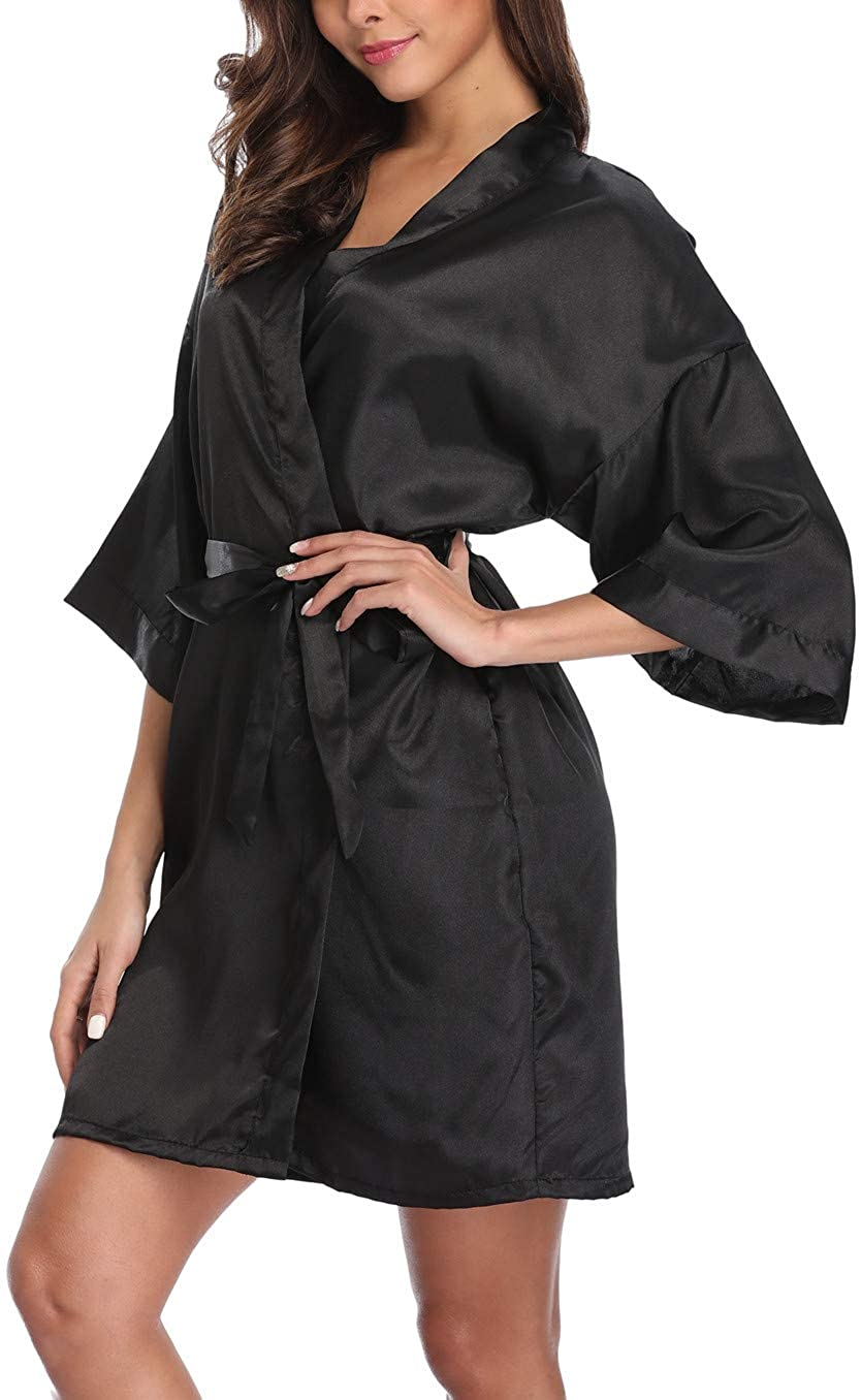 Old-Times Women's Pure Color Silk Kimono Short Robes for Bridesmaids and Bride