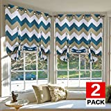 H.VERSAILTEX Thermal Insulated Blackout Curtains - Tie Up Shades for Kitchen Grommet Top Curtains for Small Window, 2-Pack, 40 x 63 Inch Long - Chevron Sage/Teal