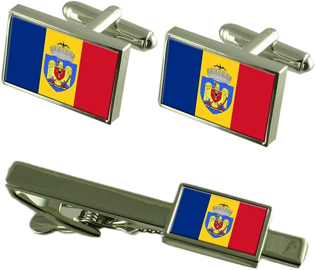 Select Gifts Ciudad de Bucarest Rumania Bandera Gemelos Clip de Corbata Box Set de Regalo