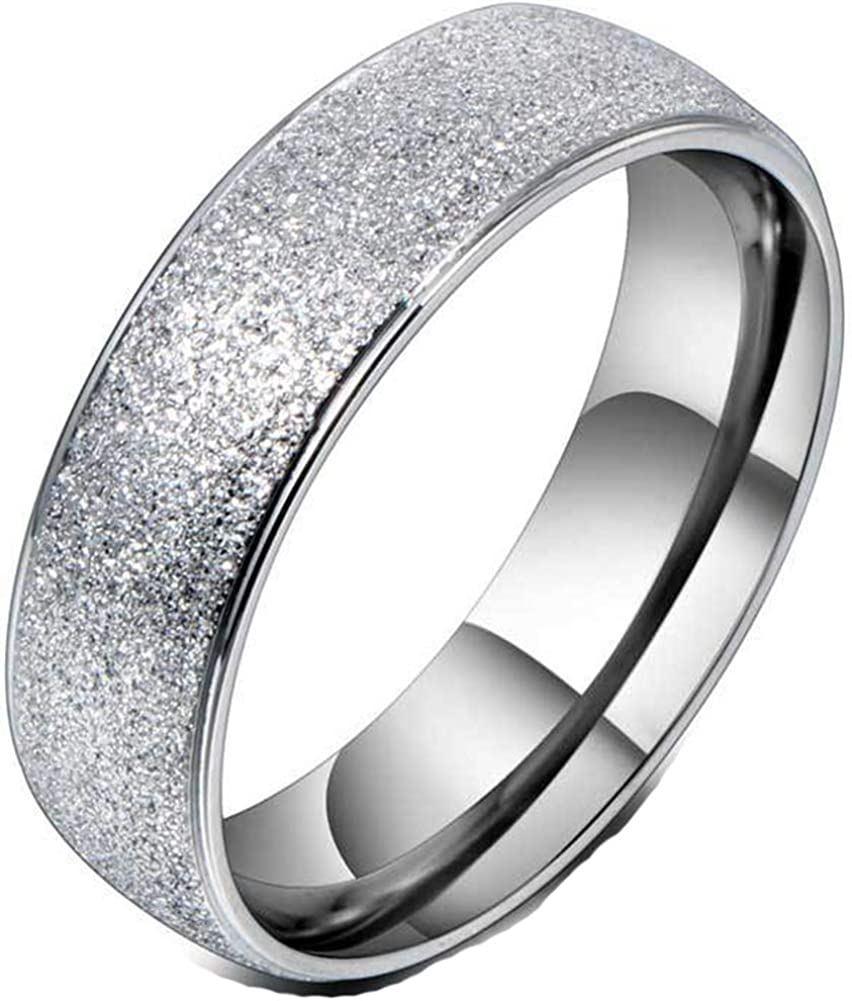 PAURO Womens Stainless Steel Sand Blast Finish Engagement Wedding Band Ring Silver Tone