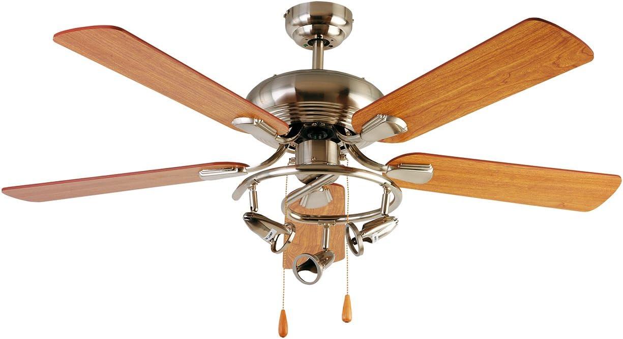 Orbegozo CT 19132 N Ventilador de techo con luz, 5 palas reversibles, 132 cm de diámetro, potencia de 70 W y 3 velocidades