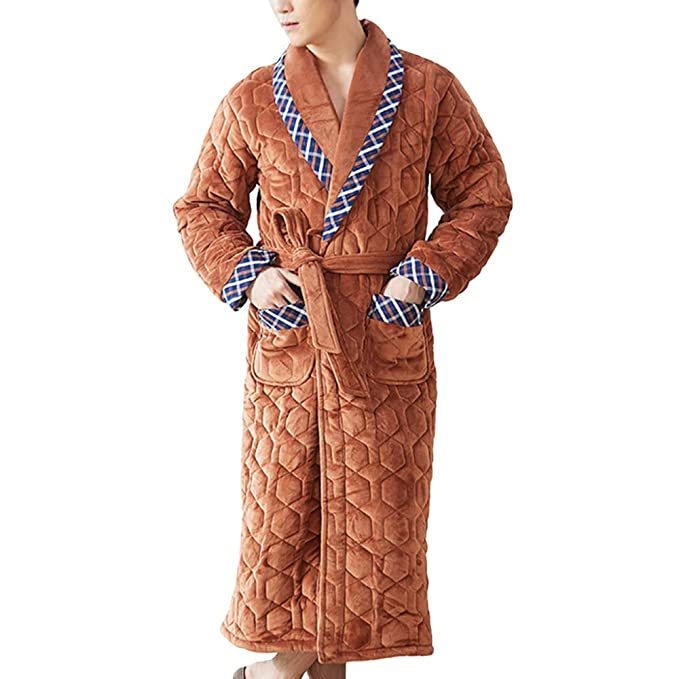 Bata De Algodón De Algodón De Franela De Invierno De Los Jóvenes De Los Hombres De Gran Tamaño Sueltos Pijamas Otoño Largo Loungewear: Amazon.es: Ropa y ...
