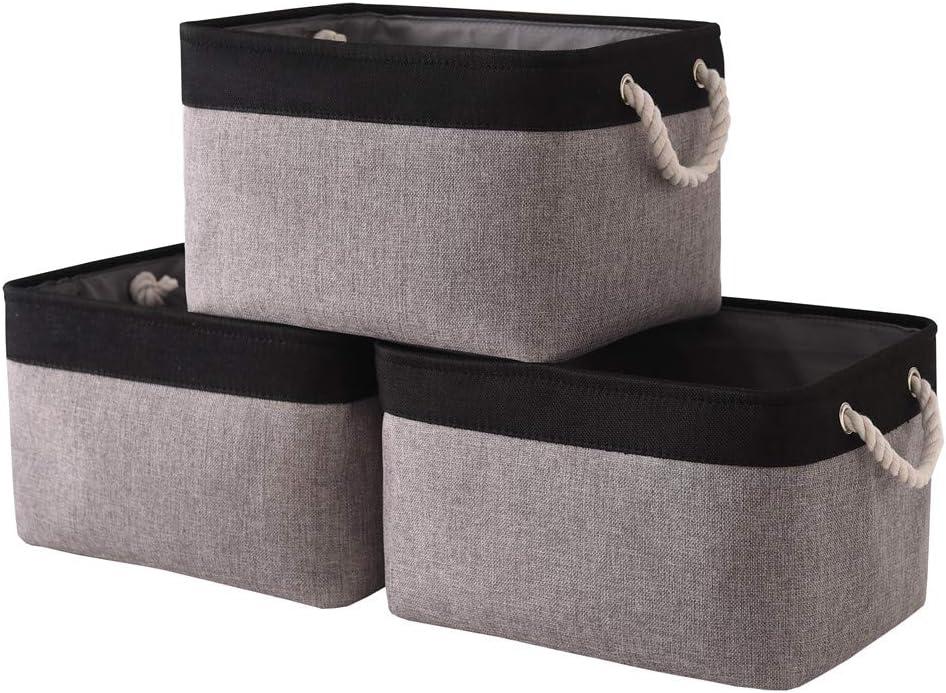 Tegance Storage Baskets Bins for Organizing, Foldable Sturdy Fabric Basket W/Handles, Large Rectangular Decorative Storage Basket for Shelves Nursery Closet Toy Blanket (3 Pack 15.7x11.8x8.3