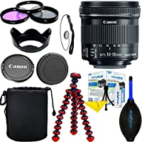 Canon EF-S 10-18mm f/4.5-5.6 IS STM Lens + Wide Angle + 3PCS Filter Kit + Lens Hood + Dust Blower + Lens Pouch + Lens Cap Keeper + Lens Caps + Cleaning Pen + Flexible Tripod + Fiber Cloth