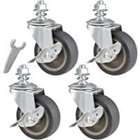 JEMVOTIC Caster Wheels, 1/2€-13x1€(Screw Diameter 1/2€, Screw Height 1€) Threaded Stem Casters, 3€ Grey Rubber Casters with Brake, Casters Set of 4, No Noise Swivel Casters, 4 Pack Locking Castors