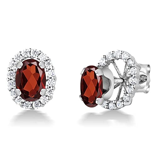 Gem Stone King 2.00 Ct 925 Sterling Silver Oval Garnet Removable Jacket Stud Earrings 7×5 milimeters