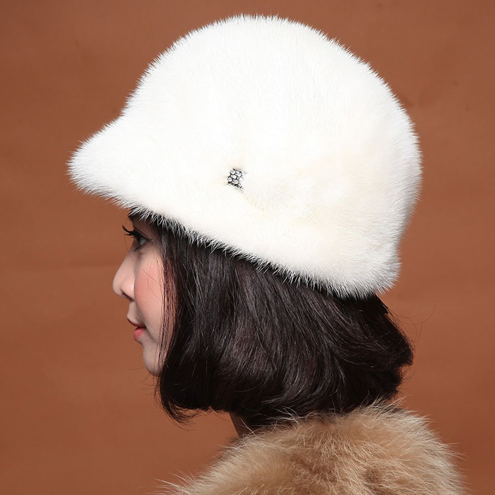 MINGXINTECH womens real mink fur round falbala peak cap winter warm flowers hat by MINGXINTECH (Image #2)