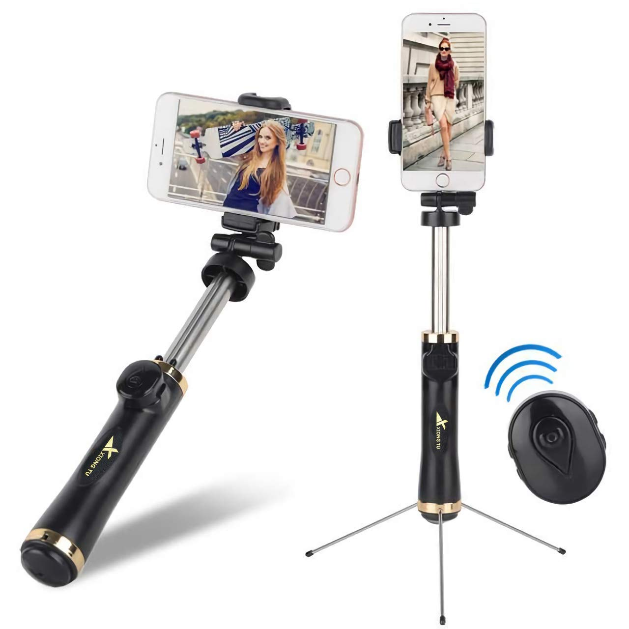 Selfie Stick Compatible with iPhone Xs Max Xr X 8 7 6 6s 5 Plus, Android, Samsung Galaxy and More Portable & Extendable Selfie Stick Tripod by Evanee