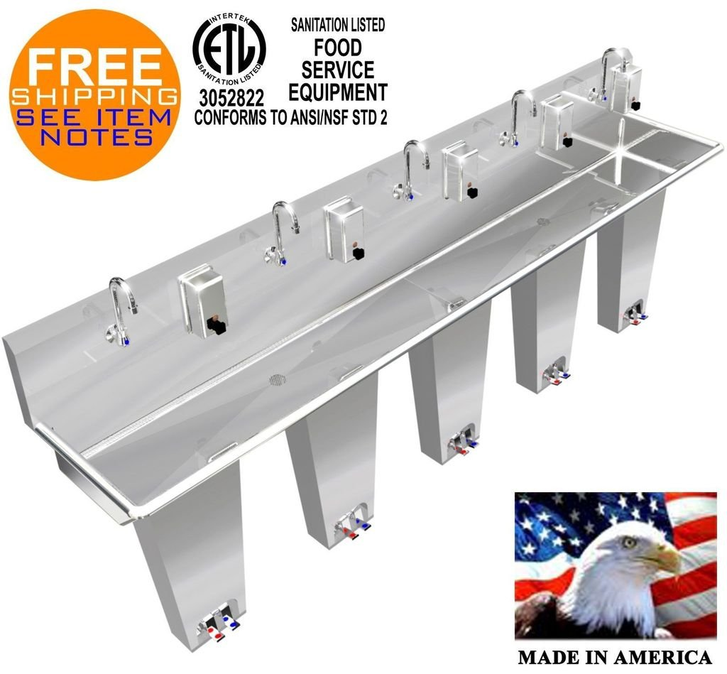 WASH HAND SINK 5 PERSON 100'' PEDAL VALVE COLUMNS 2 WELDED DRAINS MADE IN AMERICA by BSM