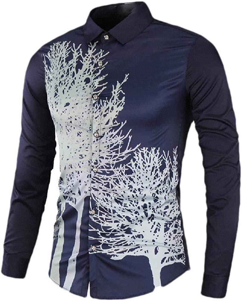 AngelSpace Mens Slim Long Sleeve Button Vogue Floral Printed Dress Shirts