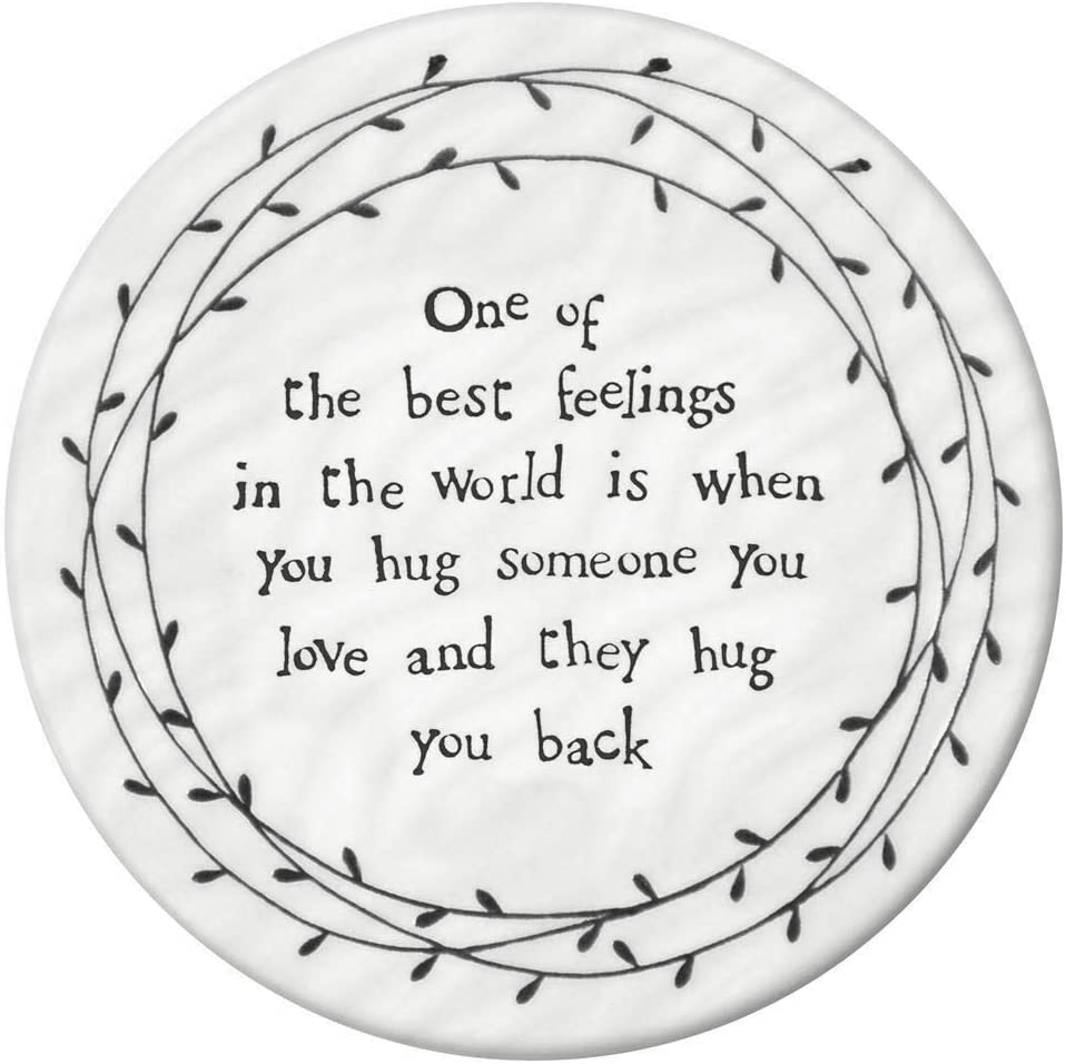 East of India White Porcelain Round Leaf Coaster with Heartfelt Messages