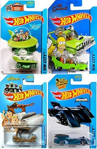 4 Toons & Character Hot Wheels Batman Flintstone, Jetsons & Homer Simpson Cars Cartoon Batmobile Flintmobile Capsule Car IN PROTECTIVE CASES