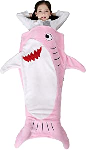 SINOGEM Shark Tail Blanket - Plush Animal Sleeping Bag Blanket Shark Toys for Kids by (Pink)