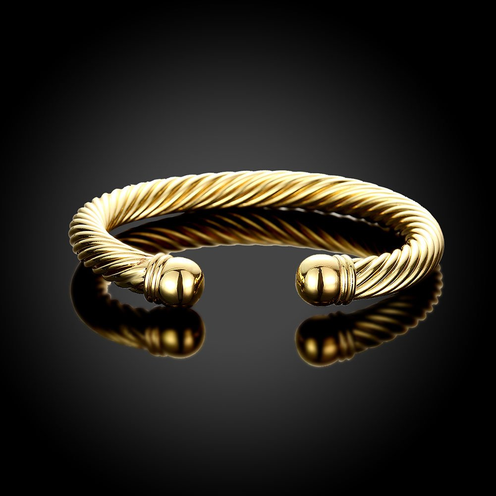 Zhiwen Simple Cuff Bracelet 18K Real Gold Platinum Plated Fine Bangle Bracelet Cable Wire Twisted Cuff Bangle Bracelets for Women Men by Zhiwen (Image #4)