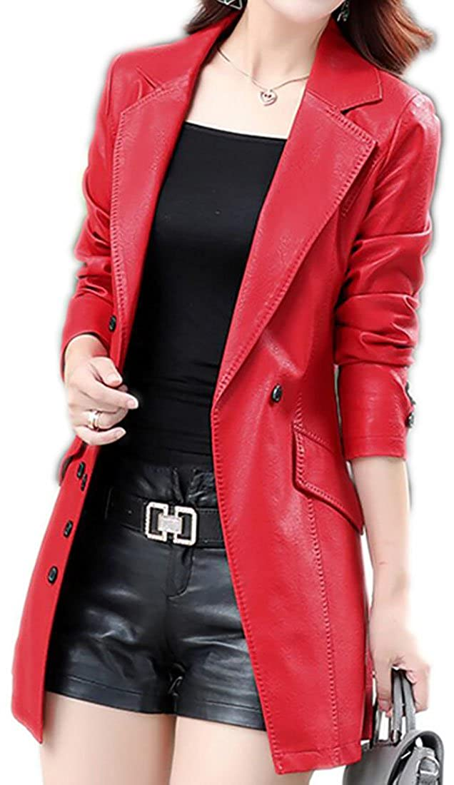 Oberora-Women Fashion PU Lapel Double Breasted Faux-Leather Blazer Jacket