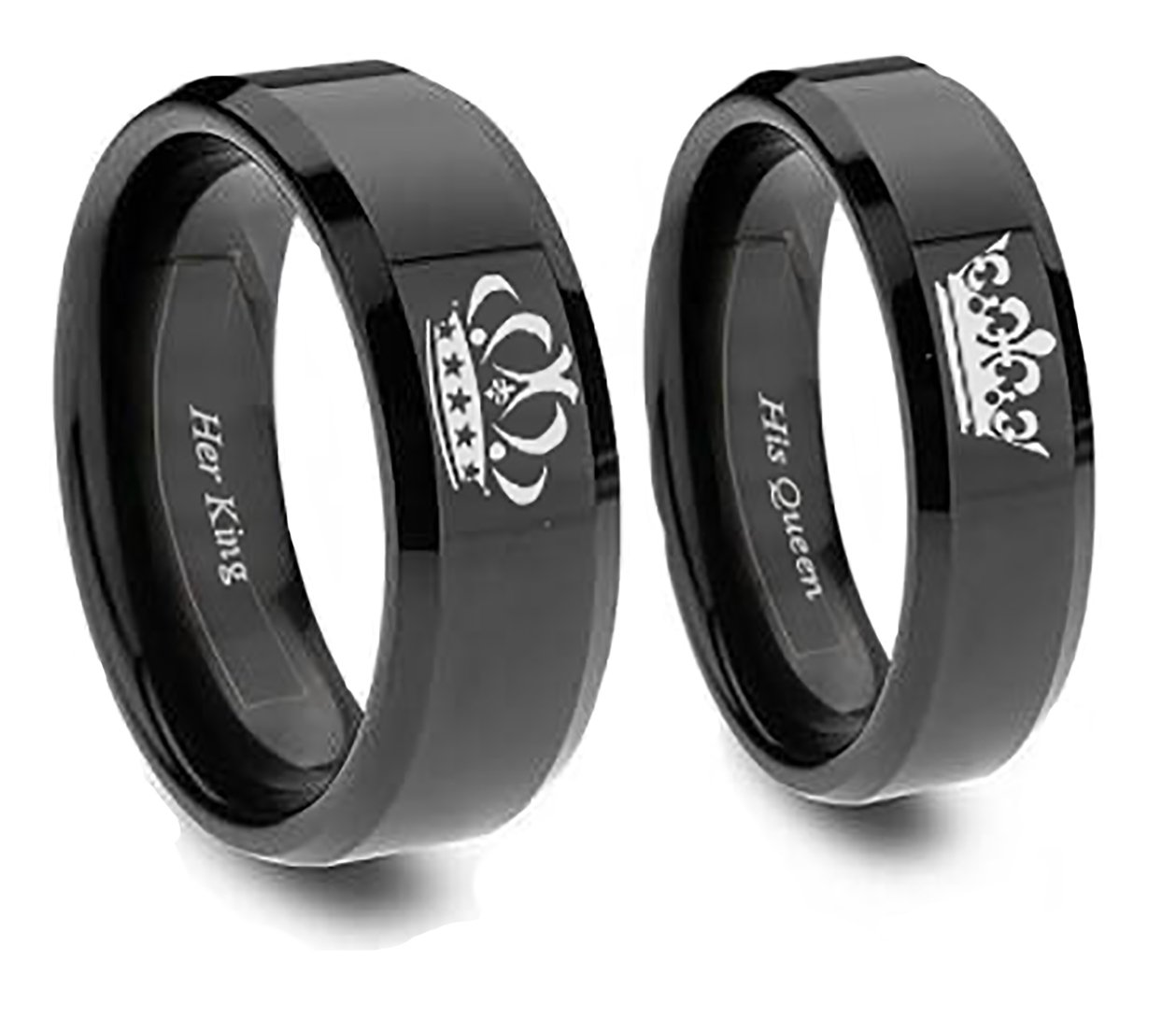 amazoncom king and queen ring set in blacktitanium his and hers couples set y southern designs sports outdoors - Black Wedding Rings For Him And Her