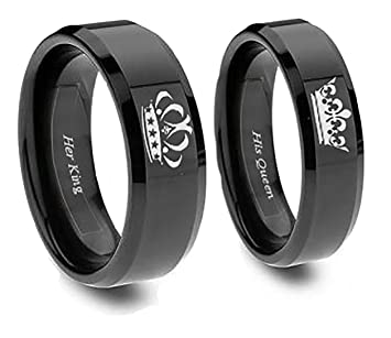 king and queen rings in black his 8 her 5 - Black Wedding Rings Sets