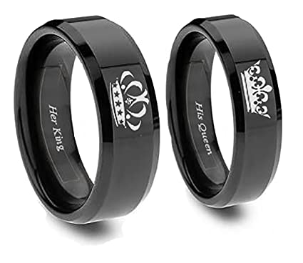 c9c849633d Southern Designs Matching Couples King and Queen Rings Crown in Black  Titanium for Promise Friendship Wedding