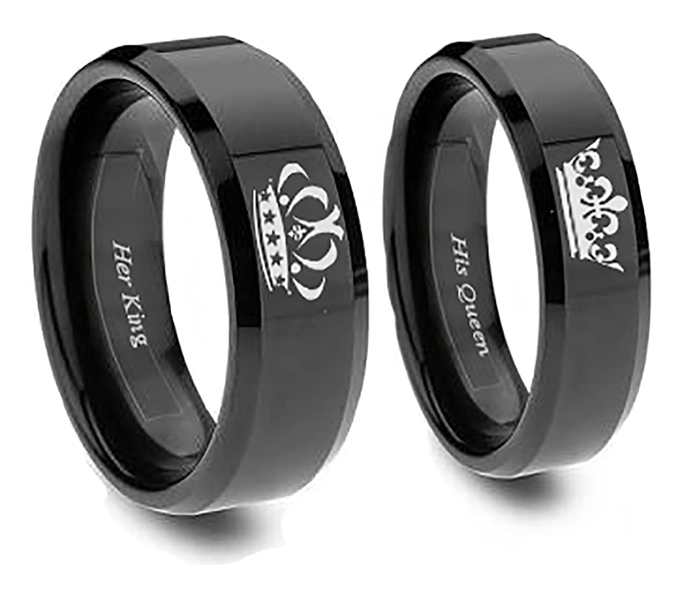 Amazon King and Queen Black Couples Ring Set Women s Queen
