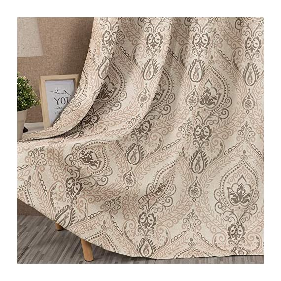 "Medallion Linen Textured Curtains for Living Room 84 Inch Length Drapes Damask Pattern Flax Draperies Window Treatments Room Darkening Sliding Glass Doors for Bedroom Curtain Panels 1 Pair Taupe - 【Simple Design】 Package includes 2 Damask Printed Light Filtering Curtains. Each measures 50""width by 84"" length. 【Style Fashion】Flaunting a large damask print in vivid colors, this beautiful panel pair creates a striking contrast, for a stylish and eye-catching look. 【Light Reducing】Room darkening fabric reduce up to 50% of sunlight, letting you enjoy a serene and comfortable internal environment during any time. - living-room-soft-furnishings, living-room, draperies-curtains-shades - 61J7oi6I7qL. SS570  -"