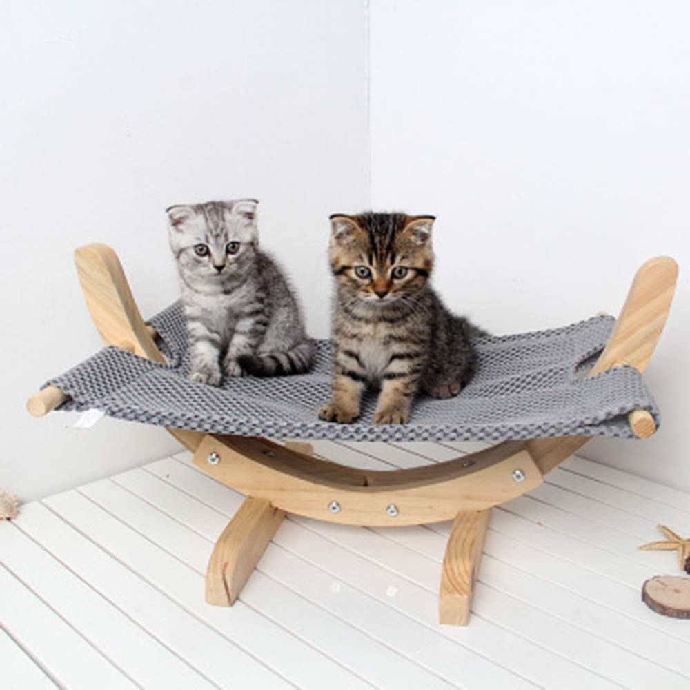 A Cat and Dog DIY Assembled Swing Bed Solid Wood Mesh Breathable Cat Cradle Pet Supplies Dog Hammock 57x33X29cm