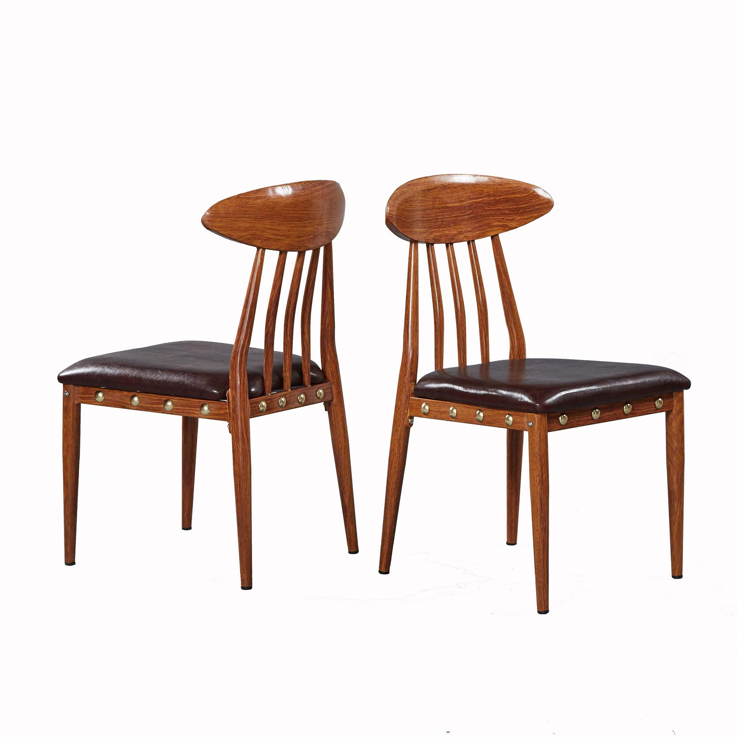 GreenForest Dining Chairs Modern Metal Legs with PU Leather Set of 2 Kitchen Chairs Walnut